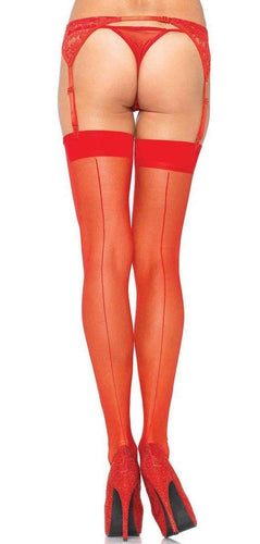 Red Sheer Thigh Highs with Plain Top and Back Seam Main Image