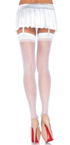 Thigh High White Plain Top Back Seam Stockings
