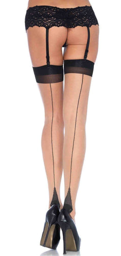 Black and Nude Contrast Back Seam Thigh Highs Back Image