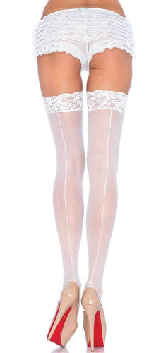 Sexy Women's Sheer White Lace Top Back Seam Thigh Highs Main Image