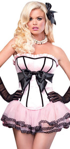 Pastel Pink and Black Women's Burlesque Corset Front Image