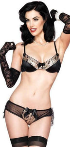 Black and Gold Women's Burlesque Bra Set Front Image