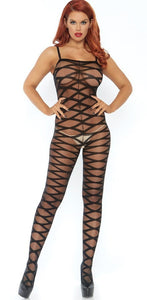 Sexy Sheer Black Criss Cross Open Crotch Bodystocking Front Image