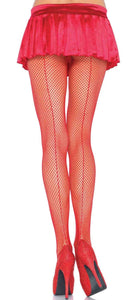Full Length Women's Red Back Seam Fishnet Pantyhose