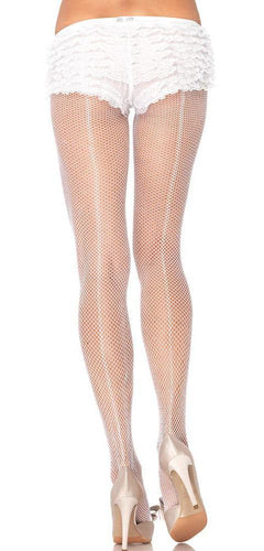 Sexy Full Length White Fishnet Pantyhose with Back Seam