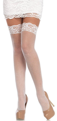 Thigh High White Fishnet Lace Top Stockings