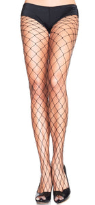 Women's Black Wide Fishnet Full Length Stockings