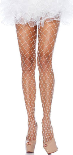 Women's White Wide Fishnet Full Length Stockings
