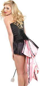 Black and Pink Satin Bow Back Burlesque Bustle Skirt Back Image