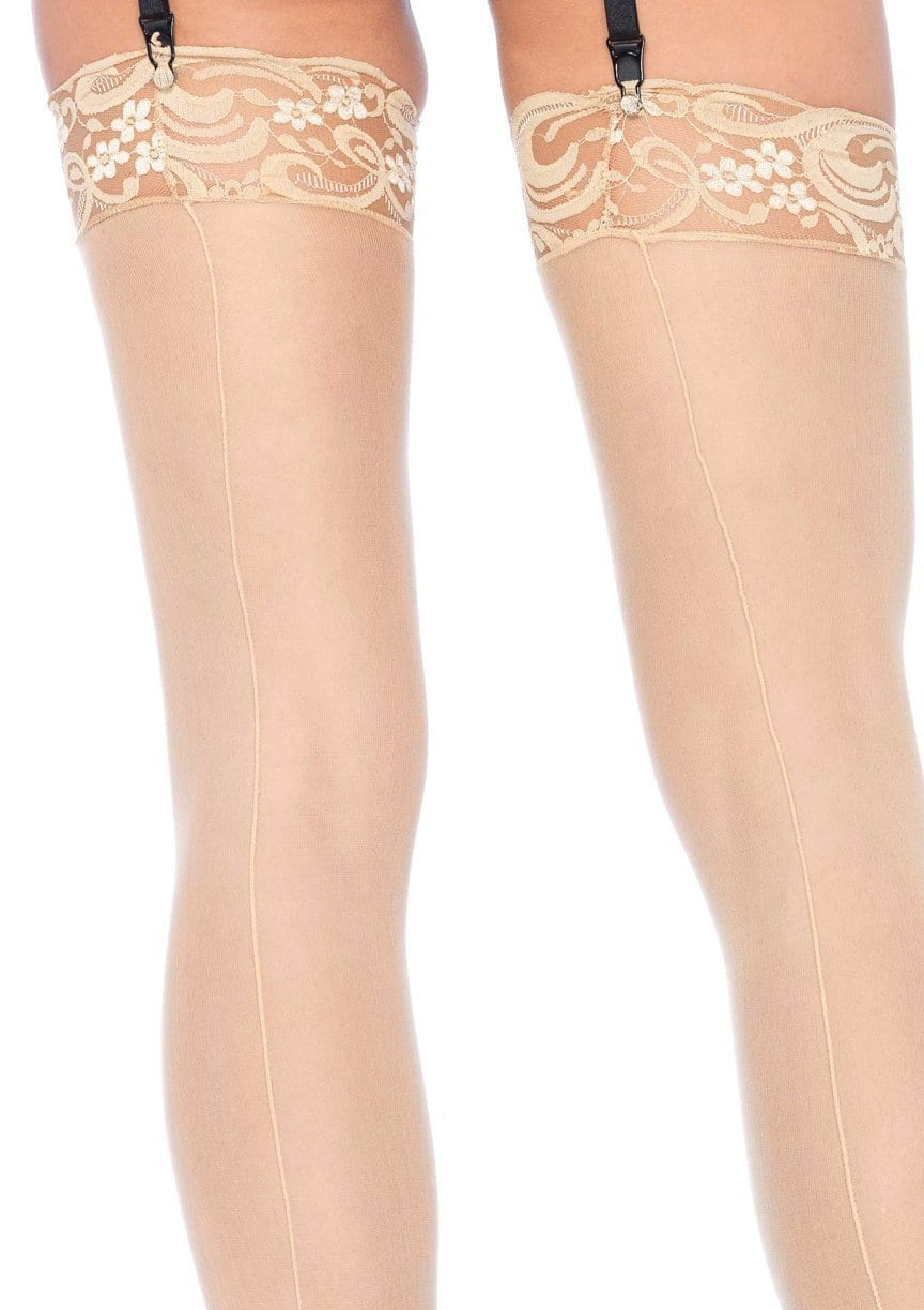 767069f8b ... Plus Size Sheer Nude Thigh Highs with Backseam and Lace Top Close Image