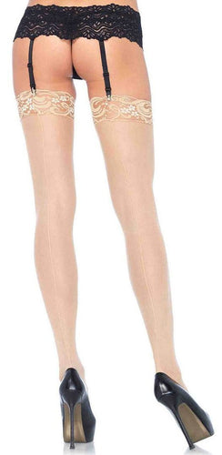 Plus Size Sheer Nude Thigh Highs with Backseam and Lace Top Main Image