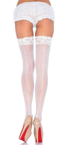 Plus Size Sheer White Thigh Highs with Backseam and Lace Top Main Image