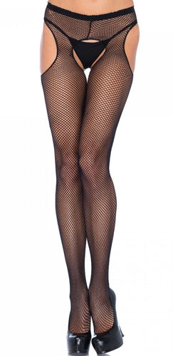 Sexy Full Length Black Fishnet Suspender Style Pantyhose