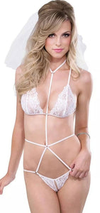 Sexy Women's Bridal White Lace Crotchless Strappy Harness Teddy Lingerie Front Image
