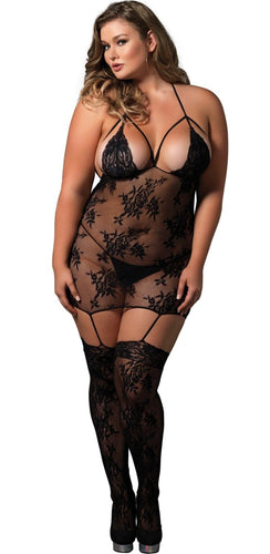 Sexy Black Plus Size Lace Chemise with Attached Thigh Highs Full Image