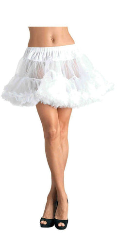 Plus Size White Thigh Length Mesh Petticoat in White Front View