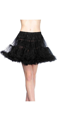 Plus Size Black Thigh Length Lingerie Petticoat Front View