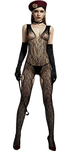 Sexy Black Fishnet Bodystocking with Paisley Print Front Image