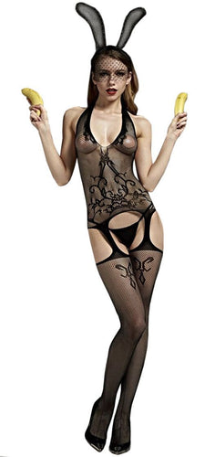 Black Fishnet Swirl Lace Patterned Bodystocking Front Image