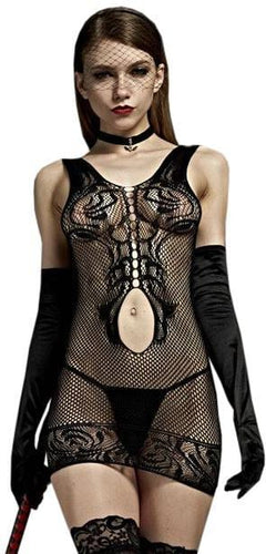 Women's Sexy Black Fishnet Cut Out Lingerie Dress Close Image