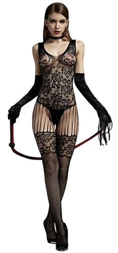 Sexy Black Floral Strappy Crotchless Body Stocking Front Image