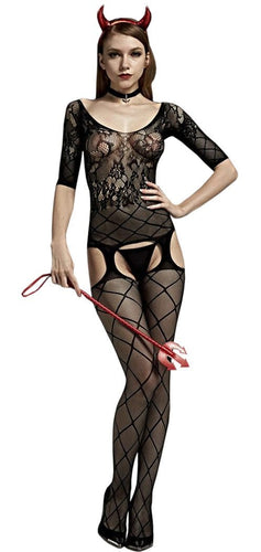 Suspender Black Criss Cross Women's Body Stocking Front Image