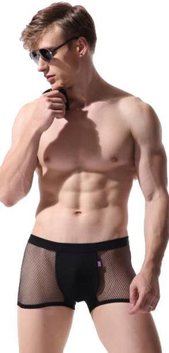 Men's Black Fishnet Trunks with Cotton Pouch Front Image