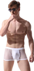 Cotton Pouch Men's Sexy White Fishnet Trunks