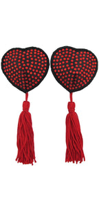 Black Heart Pasties with Red Rhinestones and Tassels