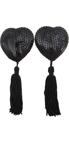Black Sequined Heart Nipple Covers with Tassels Main Image