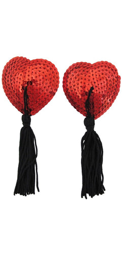 Women's Red Sequined Heart Nipple Covers with Black Tassels Main Image