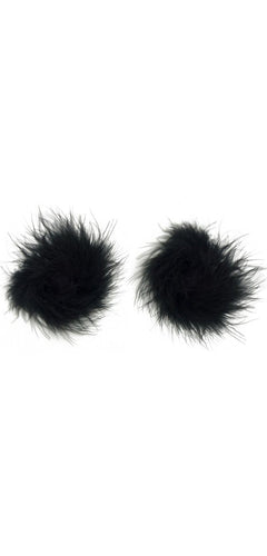 Fluffy Black Feather Women's Stick On Pasties Main Image