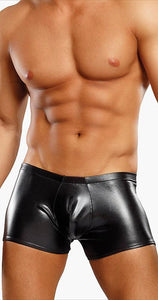 Men's Liquid Onyx Black Wet Look Trunks Front Image