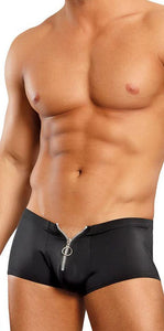 Black Nylon Spandex Men's Zip Front Shorts Front Image