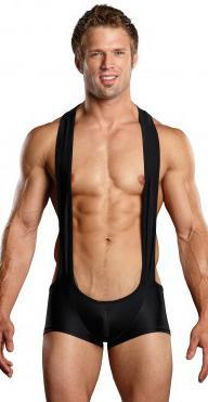 Euro Men's Black Sling Short Spandex Mankini Lingerie Main Image