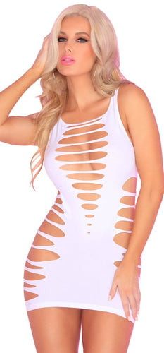 Cut Out Seamless White Women's Mini Dress Lingerie Front Image