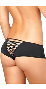 Black Lace Up Back Women's Crotchless Panties Back Image