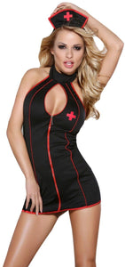 Naughty Black Nurse Sexy Women's Bedroom Costume Front Image