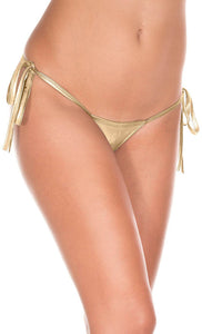 Sexy Metallic Gold Wet Look Tie Up Side Thong for Women - Front Image