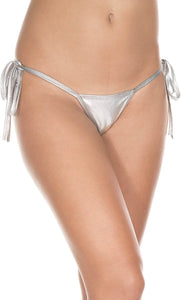 Side Tie Metallic Silver Women's Micro G-String