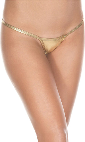 Sexy Metallic Gold Women's Micro Thong - Front Image