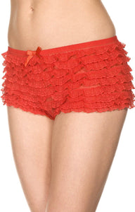Red Ruffled Lace Women's Sexy Booty Shorts Lingerie