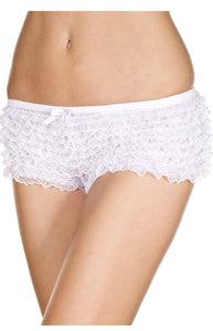 Sexy White Ruffled Lace Women's Booty Shorts
