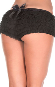 Black Ruffled Women's Sexy Booty Shorts
