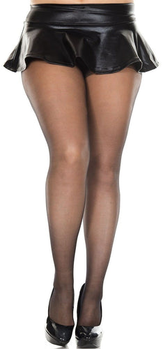 Plus Size Control Top Sheer Black Spandex Pantyhose
