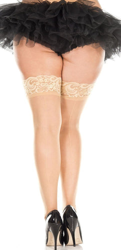 Plus Size Sheer Beige Thigh Highs with Lace Tops