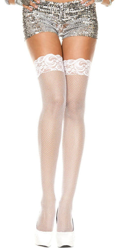 Women's Sexy White Fishnet Thigh Highs with Floral Lace Top
