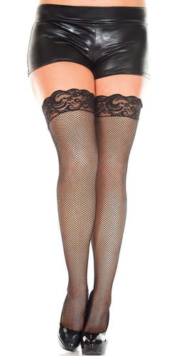 Silicone Stay Up Black Fishnet Lace Top Plus Size Thigh Highs