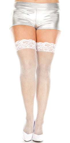 Silicone Stay Up White Fishnet Lace Top Plus Size Thigh Highs