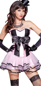 Women's Pink and Black Burlesque Corset Lingerie Front Image